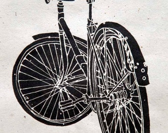 Cool Cruiser Bike Mock Wood Block - Bicycle Art Print