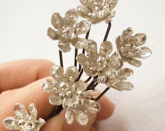 Flower Hairpins - Small Individial Pins for Bridal, Prom, Party Hair. Floral, Bohemian, Vintage, Bridesmaid.