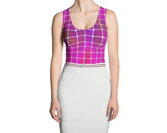 Yogi & Pie Sporty Elegant Stained Fuchsia Pattern Dress