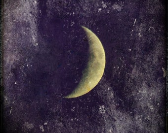 Moon of Growth- crescent moon print, waxing moon, purple sky, textured moon photo,pagan moon art, amethyst sky, sky of dreams, purple & gold