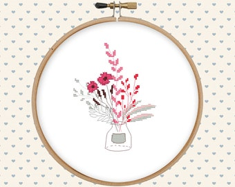 Bouquet cross stitch pattern pdf - instant download - digital download - modern cross stitch