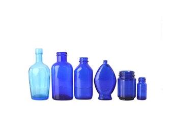 Lot of Vintage Cobalt Blue Glass Bottles, Instant Blue Bottle Collection