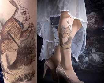 Tattoo Tights -  ALICE one size nude full length printed tights, pantyhose, nylons by tattoosocks