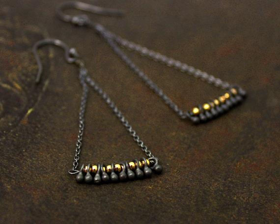 Mixed Metals earrings. Chandelier Earrings. Fringe Earrings. Triangle Earrings. Black 925 Silver and 14k Gold Fill. E-2223