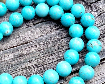 Simple Turquoise Necklace 10mm Turquoise Necklace Turquoise Beaded Necklace Turquoise Bead Necklace Everyday Turquoise Necklace Gemstone