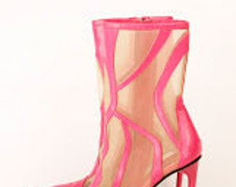 VERSACE Hot Pink Ankle Boot