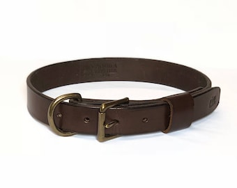 Handmade Leather Dog Collar - Solid Brass Hardware