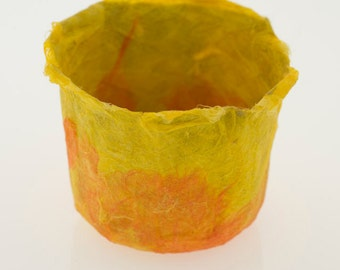 Yellow Orange Bowl Handmade Paper Bowl, orange and yellow sunset paper papier mache decorative bowl original art