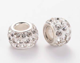 Set of 2 Charms resin rhinestone beads