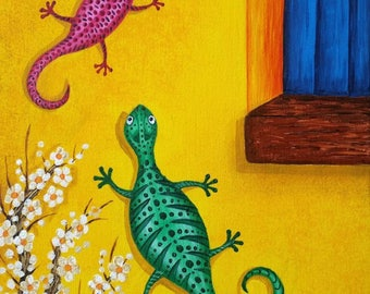 Lizard Art Print-Lounging Lizards