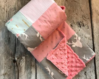 Baby crib blanket, quilt style , deers, vintage flowers, gold X on pink, minky or faux fur on the back side
