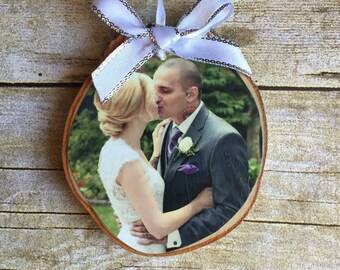 Our First Christmas Photo Ornament | Custom Photo Ornament | Personalized Wood Ornament | Christmas Ornament | Hand lettered | Rustic Decor