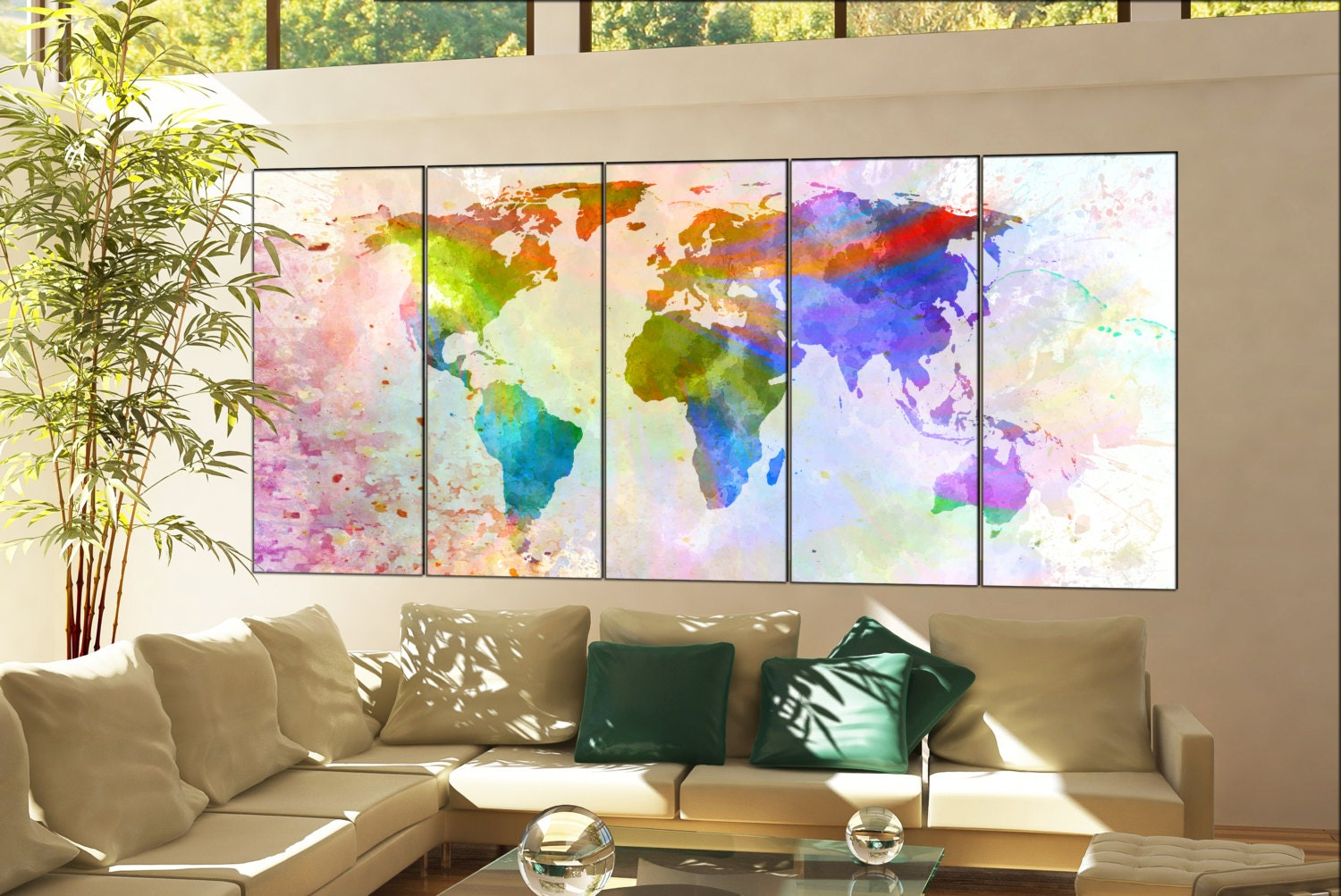 Office Decor World Map Print On Canvas Wall Art Office Decor World Map  Print Artwork Large Office Decor World Map Home Decoration 5 Panel