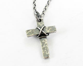 Sterling silver Cross Necklace with silver chain -Handmade Cross.. Men's / Women's Cross pendant - Oxidized