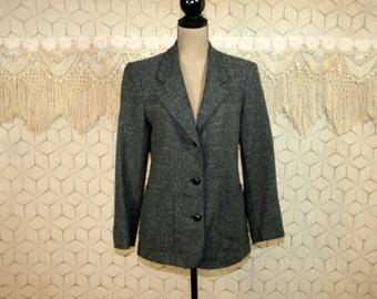 80s LL Bean Gray Tweed Blazer Jacket Wool Jacket Herringbone Womens Jackets Traditional Preppy Womens Blazers Medium 1980s Vintage Clothing