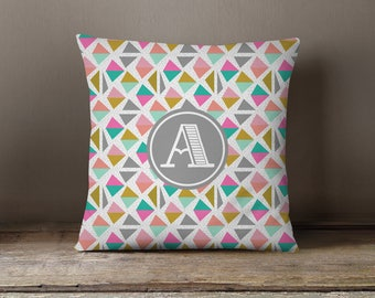 Throw Pillow, Pillow Cover,  Dorm Pillow Personalized Pillow, Monogram: Geo Half One
