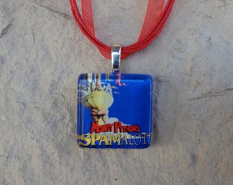 Broadway Musical Spamalot Glass Pendant and Ribbon Necklace