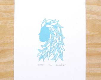 "Woodblock Print - ""Sister"" Sky Blue - Woman Head - Feminine - Art Printmaking"