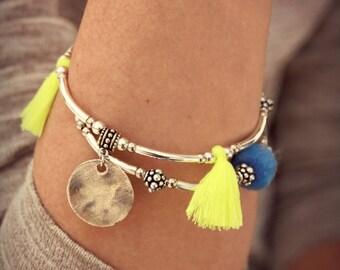 Boho bracelet, tassel, Bracelet silver Bracelet, ethnic Bracelet, Hippie Bracelet Tibetan Bracelet blue Bracelet yellow Bracelet,