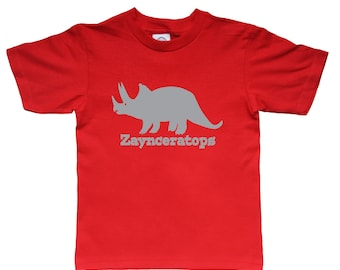 Dinosaur Shirt Triceratops - any name - pick your colors!