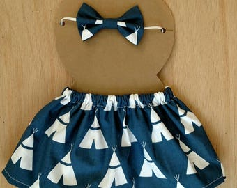 Doll outfit, navy blue teepee pattern doll outfit, dress up outfit, dress up skirt, dress up headband, doll clothes