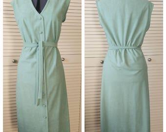 Fetching Button Front Seafoam Green Shirtwaist Dress, 1970's sz 10/M Joan Curtis