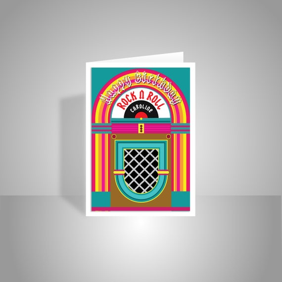 Rock n roll happy birthday card for her him personalised name like this item bookmarktalkfo Images