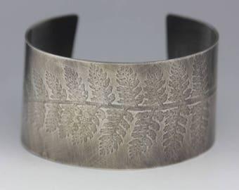 Fern Print Cuff, Textured Sterling Cuff, Botanical Jewelry, Statement Piece, Unisex Cuff
