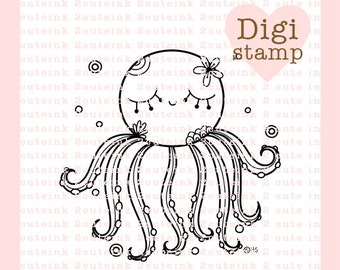 Octopus Doodle Digital Stamp for Card Making, Paper Crafts, Scrapbooking, Hand Embroidery, Invitations, Stickers, Zentangle Coloring Page