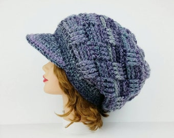 Slouchy Beanie Cap, Newsboy Hat, Visor Hats For Women, Newsboy Cap, Crochet Hat, Women's Hat, Purple Hat, Visor Cap, Slouchy Cap Hat,