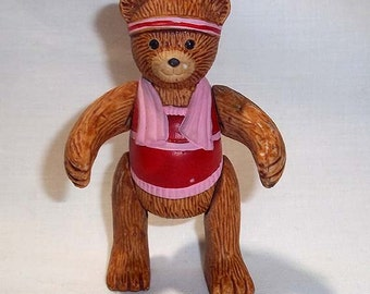 Vintage Russ Berrie Teddy Town Porcelain Jointed Poseable Bear Figure / Figurine / Athlete / Aerobic Bear #9411