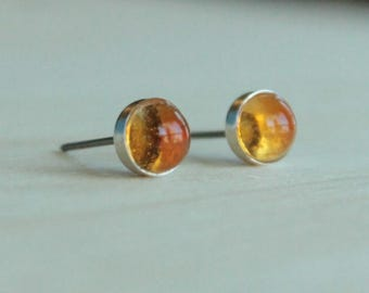 Citrine Gemstone Titanium Earrings Studs / 6mm Cabochon Bezel Set / Allergy Free Earrings for Metal Allergies