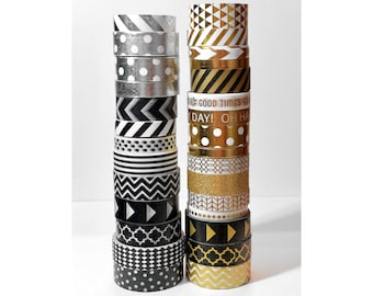 """Black, Gold, and Silver Washi Tape  24"""" Sample"""