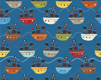 Fat Quarter Treasure Map Pirate Ship Navy Cotton Quilting Fabric - Riley Blake