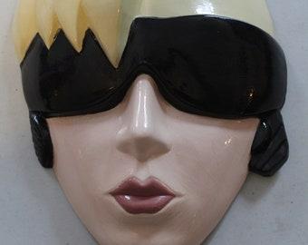 Ceramic Rocker with headphones Handpainted Mask