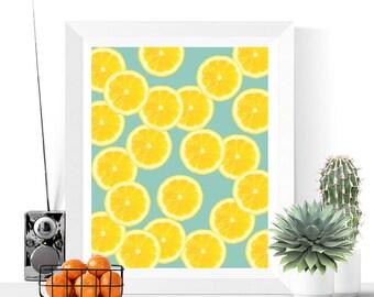 Lemon Slices Art Printable   Yellow and Blue   Fruit Art   Kitchen Art   Lemon Art   Modern Art   Tropical Prints   Food