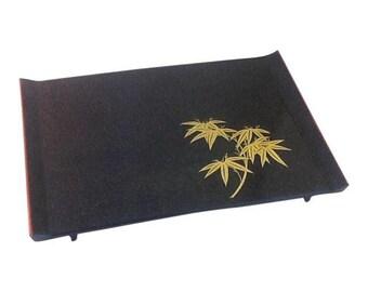 Japanese Black Lacquer Tray.  Vintage Tray.  Lacquerware Tray. Asian Serving Tray. Sushi Tray.