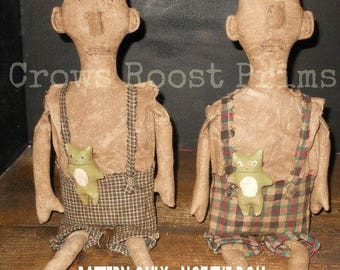 Primitive epattern-NOT DoLL, Man Boy Doll Oliver and Frog 351e Crows Roost Prims epattern immediate download