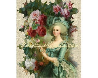 "Marie Antoinette #19 Collage Cotton Fabric Quilt Block (1) @ 5X7"" on 8.5X11"" Sheet"