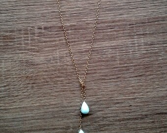 Peruvian blue opal triple-drop lariat necklace