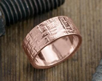 10mm 14k Rose Gold Mens Wedding Band, Textured Polished