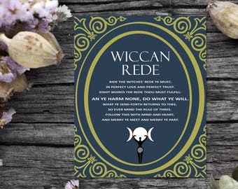 Digital Download, Wiccan Rede, Book of Shadows, BoS Pages, Witchcraft, Wicca, Wiccan BOS, Witch Decor, Instant Download, BOS Art, Wicca Rede