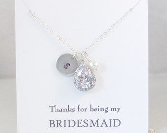 Thanks for being my Bridesmaid,Diamond Necklace,Bridesmaid Necklace,Diamond,Bridal,Bridesmaid,Initial Necklace,Clear,Necklace,Bride,Wedding