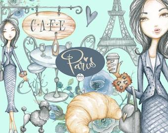 Paris Clipart Watercolor, Fashion Illustration, woman, planner stickers, graphics resource, cliparts, hand drawn, monique digital art
