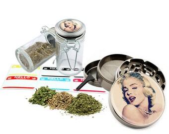 "Marilyn Monroe - 2.5"" Zinc Alloy Grinder & 75ml Locking Top Glass Jar Combo Gift Set Item # 50G012516-17"