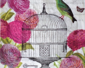 6 Vintage Butterfly Bird Cage paper napkins