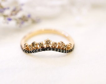 Tiara Style rose gold with natural black and cognac diamond ring