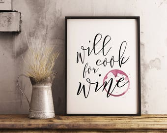 Kitchen Funny Poster - Wine Poster, Funny Poster, Kitchen Poster, Printable Poster, Printable Wall Art, Kitchen Decor, Foodie Gift,