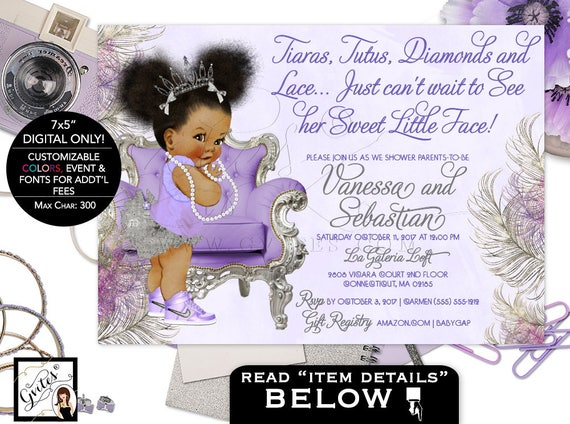 Purple lavender and silver baby shower invitation princess filmwisefo