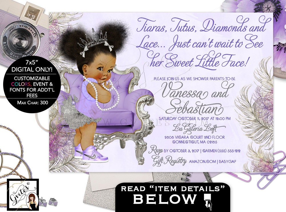 Purple Lavender and Silver baby shower invitation, princess african ...
